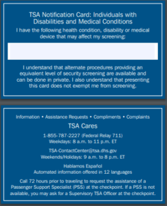 TSA notification card for autism and disabilities