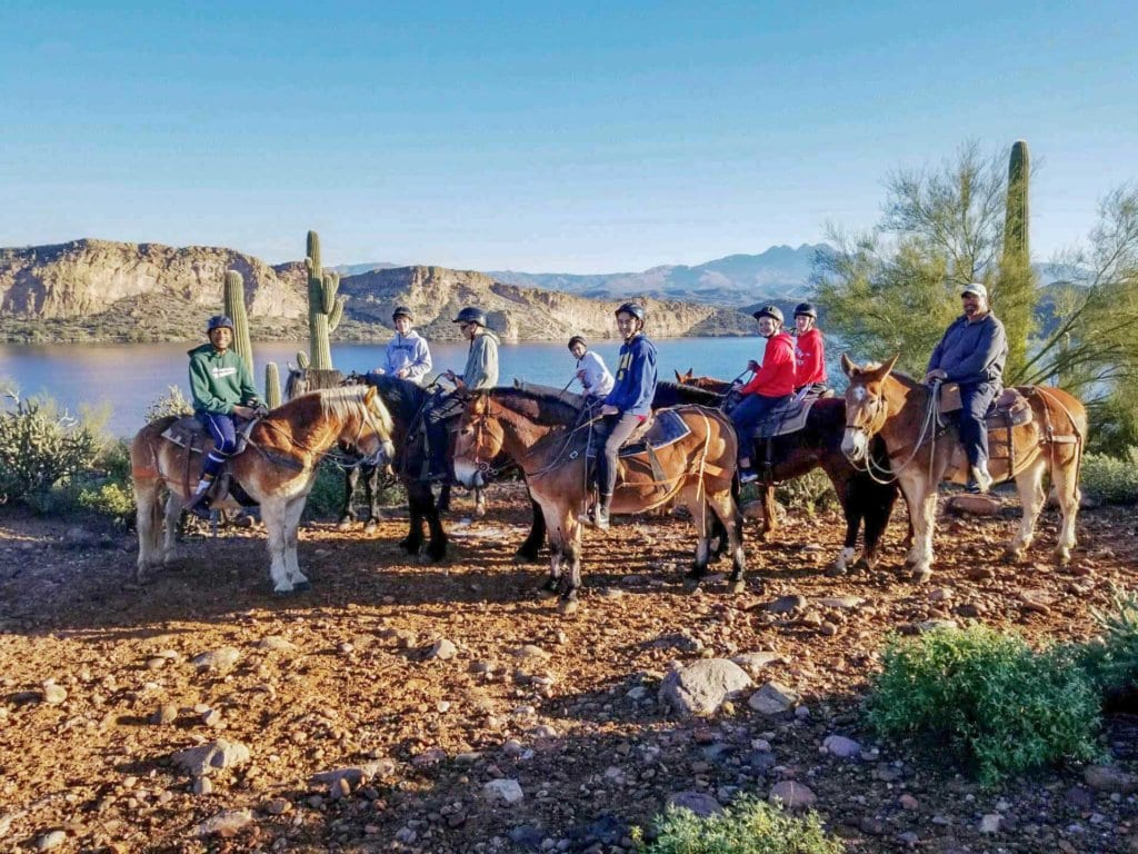 Saguaro Lake Guest Ranch horseback riding group