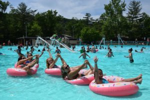 Knoebels water park family on tubes