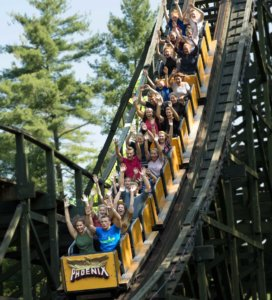Knoebels roller coaster ride with guests